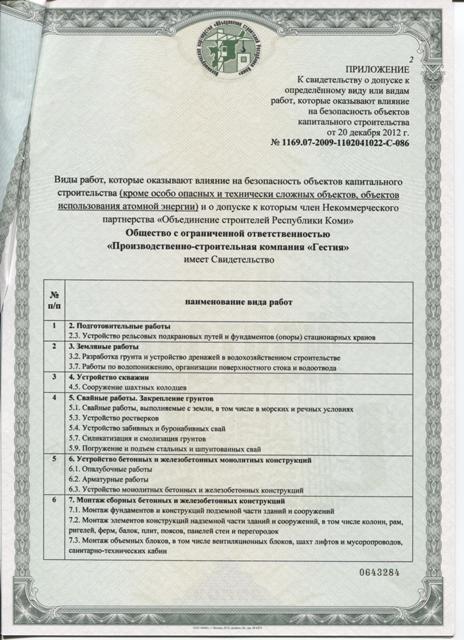 Свидетельство № 1169.07 - 2009 - 1102041022 - С - 086  о допуске к определенному виду или видам работ, которые оказывают влияние на безопасность объектов капитального строительства. Лист 2