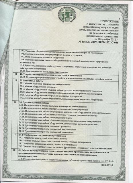 Свидетельство № 1169.07 - 2009 - 1102041022 - С - 086  о допуске к определенному виду или видам работ, которые оказывают влияние на безопасность объектов капитального строительства. Лист 4